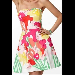 Lilly Pulitzer floral strapless dress size 2